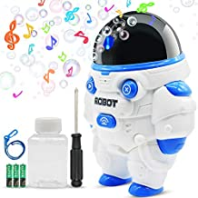 Bubble Machine, HUPROUF Bubble Blower, Bubble Machine for Kids Toddlers Boys Girls Baby Bath Toys, Acousto-optic Robot with a Rope, 800+ Bubbles Per Minute, Applicable for Party, Wedding, Birthday