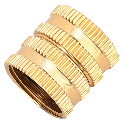 """HERCHR Hose Tap Connector 3/4"""" Brass Garden Water Pipe Adaptor with Gasket for Home Irrigation Connection"""