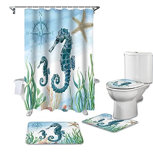CKKHYCD 4-delig douchegordijn zeepaardje zeegras waterdicht douchegordijn toiletbril cover contour mat badkamer antislip tapijt