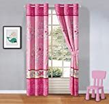 Better Home Style Multicolor Pink Blue Green Butterflies Birds Trees Printed Girls / Teens / Kids Room Window Curtain Treatment Drapes 2 Piece Set with Grommets (Tree Butterfly)