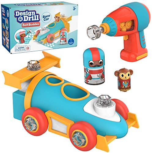 Educational Insights Design & Drill Bolt Buddies Race Car│ Fine Motor Skills & STEM Toy │Perfect Drill Toy for 3+