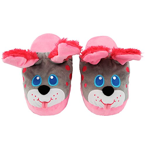 Stompeez Animated Pink Puppy Plush Slippers - Ultra Soft and Fuzzy - Ears Flap as You Walk - Medium