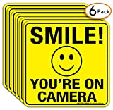 Smile You're On Camera Sign Stickers 6 Pack - 6 x 6 Inches- 4 Mil Viny - Laminated for Ultimate UV, Weather, Scratch, Water and Fade Resistance - Easy to Stick - Use for CCTV Security Camera