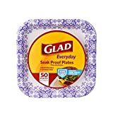 Glad Square Disposable Paper Plates for All Occasions | Soak Proof, Cut Proof, Microwaveable Heavy...