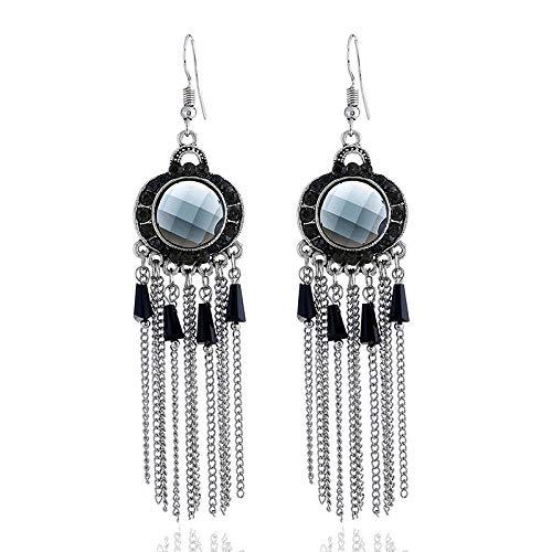 European and American new earrings cross-border round gemstone retro alloy diamond tassel earrings jewelry accessories