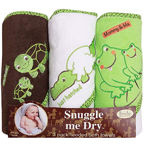 Frenchie Mini Couture, Baby Hooded Towel Set, 80% Cotton/20% Polyester, Frog/Alligator/Turtle Babies Bath Towels, Pack of 3