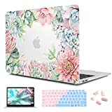 CiSoo MacBook Air 13 Inch Case 2020 2019 2018 Release A1932 A2179 A2337 M1, Plastic Matte Clear Hard Shell Case Frosted Cover with Keyboard Cover for New Air 13.3'' Touch ID, Succulent Plants