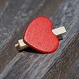 EinsSein 100x Deko Klammern Herz rot Holz - 2