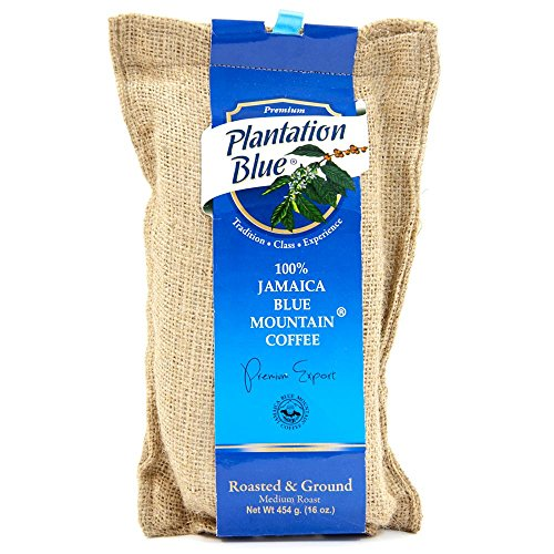 100% Authentic Certified Plantation Blue Mountain Coffee Roasted and Ground - 16 Ounce (1lb)