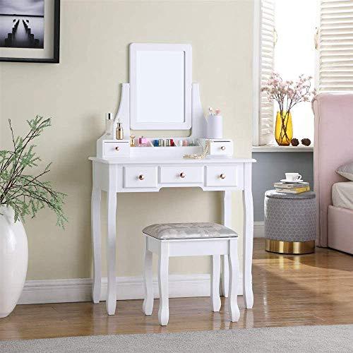 TMEE Weißer Schminktisch aus Holz mit gepolstertem Hocker, quadratischer Spiegel, 5 Schubladen, für Schlafzimmer, Ankleidezimmer, Mädchen, Frauen, Make-up, Schreibtisch, Schminktisch