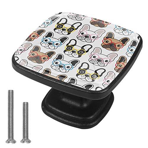 Perillas de gabinete de cocina Gafas de bulldog Perillas de escritorio Perillas de estantería decorativa para armario Juego de 4 3x2.1x2 cm