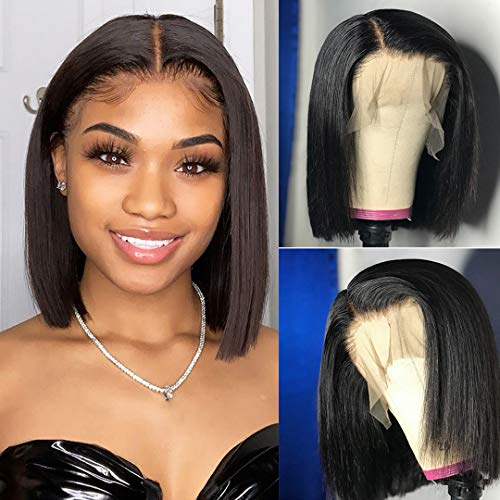 ALI GRACE Bob Wig Human Hair 10'' Lace Front Wigs for Black Women Bob Wig with Baby Hair Pre Plucked Bleached 150% Density Brazilian Human Hair Wigs