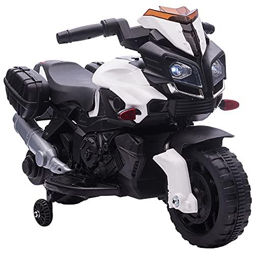 HOMCOM Elektromotorrad Kinderelektroauto Elektro-Kindermotorrad Kinderfahrzeug 6V LED-Licht simuliertes Motorgeräusch Metall+PP Schwarz+Weiß 88,5x 42,5x49 cm