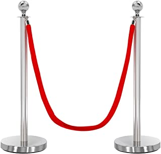 Yaheetech Stanchions and Velvet Ropes Crowd Control Barriers Stanchions w/ 6.5FT Red Velvet Rope, 2-Pack, Silver
