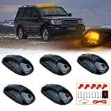 12 LED Cab Roof Marker Lights XTAUTO Roof Top Running Lamp Clearance Lights Replacement for Dodge Ram Trucks SUV POV Pickup Black Smoked Lens With Amber LED 5-pack