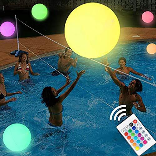 BAULMD 16 Zoll PVC Pool Glow Ball fur Beach Party Meer,Spiel Nachtbeleuchtung LED mit Water Bouncing Ball Für Dekorationen im Freien, Aufblasbarer Dekoration Partybevorzugungen (Weiß)