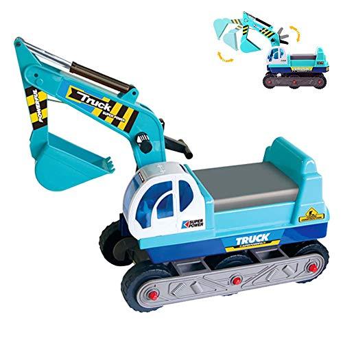 FXQIN Vehículo Correpasillos Camión de Construcción con Excavadora Manual Excavadora Triciclo para niños 2 a 5 años Coche De Juguete con Pala Excavadora Camión