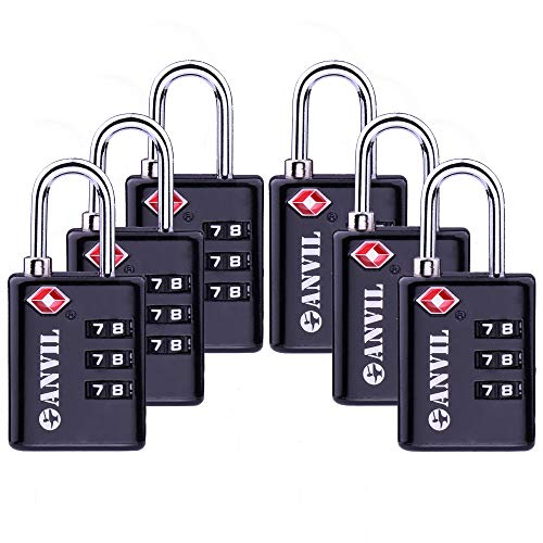 TSA Approved Luggage Locks, Durable Travel Lock with Inspection Indicator and 3 Digit Re-Settable Combination (C117BLACK6)