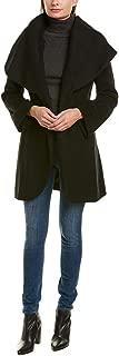 Women's Marla Heavy Double face Wool Wrap Coat Oversized Collar Black
