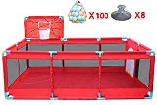 Large Indoor Baby Park with Basketball Courts and Balls Safety Mat Boys Safety Girl Play Center Yard Portable Folded Toddlers Home Activity Zone Fence  Red  Color  200 Balls
