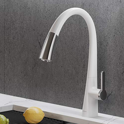 Kraus KPF-1673CHWH Nolen Single Handle White Kitchen Faucet