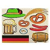 Di Medie Dimensioni Puzzle 500 Pezzi,Oktoberfest simbolo birra salsiccia di frumento e salatini colorati disposizione bavarese,Divertente Gioco di Famiglia Decor Appeso per la Casa,20.4' x 15'