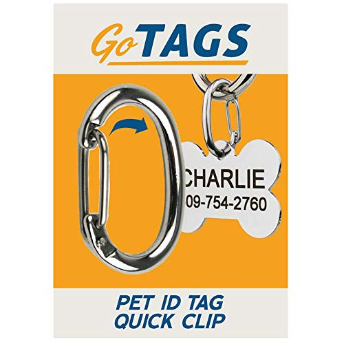 GoTags Pet ID Clip, Strong and Durable Dog and Cat Tag Connector. Easy-Going Exchange Between Pet Collars. Made of Stainless Steel.