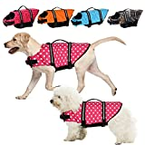 Life Jackets for Dogs, Adjustable Dog Life Vests for Boating and Canoeing Swim Vest for Dogs with Enhanced Buoyancy and Rescue Handle (Pinkdot, XXS)