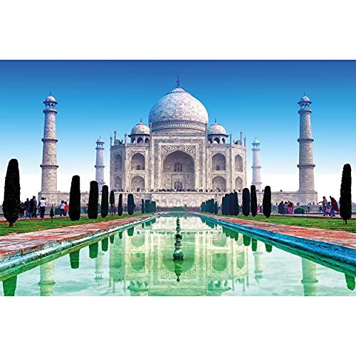 GREAT ART Fototapete – Taj Mahal – Wandbild Dekoration Sehenswürdigkeiten Tadsch Mahal Weltwunder Tempel Dom Religion Agra Indien Kultur Foto-Tapete Wandtapete Fotoposter (210 x 140 cm)