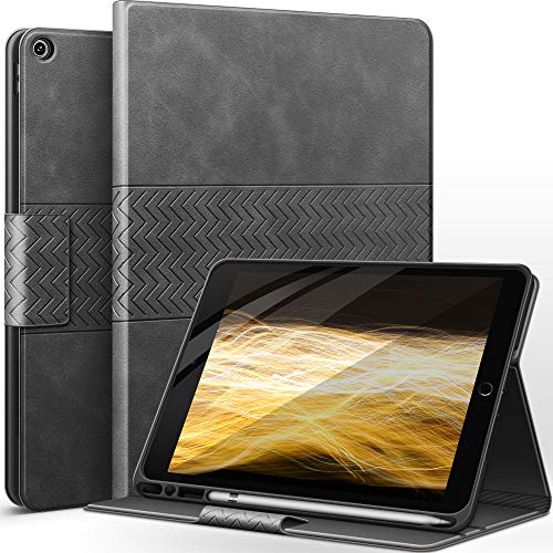 AUAUA Case for iPad 8th/7th Generation with Pencil Holder Vegan Leather Auto Sleep/Wake Smart Cover for iPad 10.2 Inch (Gray)