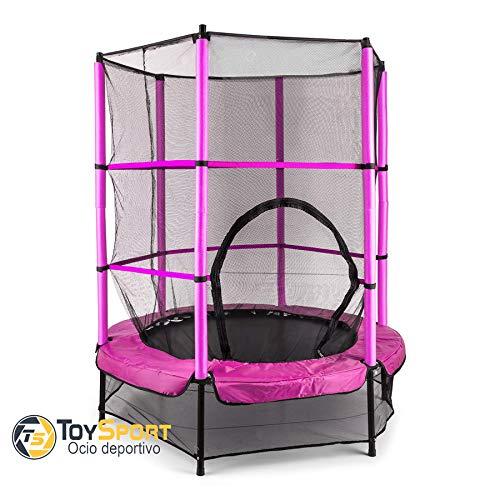 BC BABY COCHES Cama Elastica para niños Toy Sport, Trampolin de ø 140 cm, Cama Elástica Redonda Interior/Exterior (Rosa)