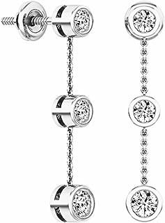 Dazzlingrock Collection 0.50 Carat (ctw) 14K Gold Round White Diamond Ladies Three Stone Drop Earrings 1/2 CT