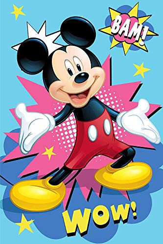 Disney Manta De Mickey Mouse, Mickey Mouse Manta Polar Infantil Suave para Bebés y Niños, Tacto de Terciopelo Franela, para Cuna y Cama de 90, 100x150cm