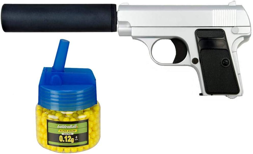 Tiendas LGP, Albainox 35720 Arma Airsoft, Pistola Aire Suave, con silenciador, Potencia 0,8 Julios + Biberón 500 Bolas 12 Gramos de 6 mm. de Regalo