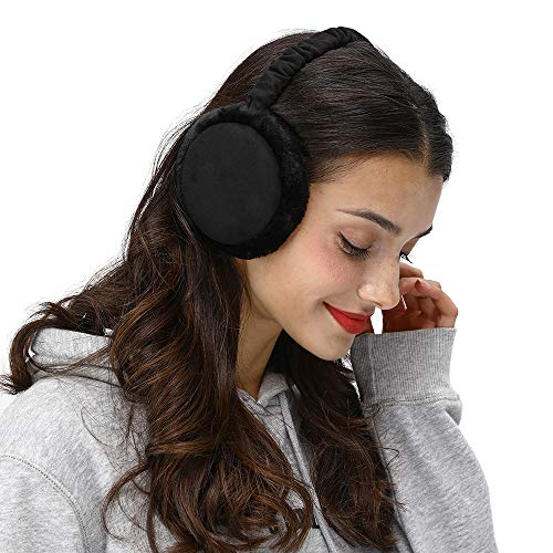 LETHMIK Winter Ear Muffs Outdoor,Mens&Womens Faux Fur Foldable Earmuffs Ear Warmer Cold Weather Black