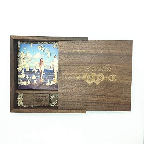 LXSINO 32 GB Holz USB Stick mit Lasergravur Mr & Mrs Design - 32 GB Holz USB 2.0 Flash-Speicherstick mit Fotografie Holzkiste (170 * 170 * 35mm) für Braut, Bräutigam, Liebhaber