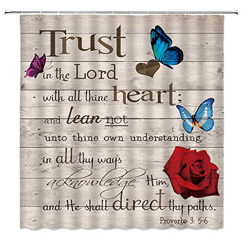 AMHNF Inspirational Quote Shower Curtain Trust in The Lord with All Thine Heart Motivational Proverbs Butterfly Red Rose Flower Rustic Wooden Vintage Bathroom Decor Fabric Decor Curtains with Hooks