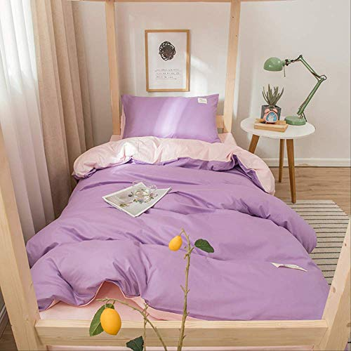N/D solid cotton three piece bed sheet and quilt cover 1.2m single dormitory student pure cotton 0.9m Bed Rose - light pink