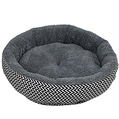 NiceButy Kissen, warm, für Haustiere, Welpen, Hunde, Katzen, für den Winter, Körbchen, Plüsch, Schlafbett, weich, gemütlich, Grau, S