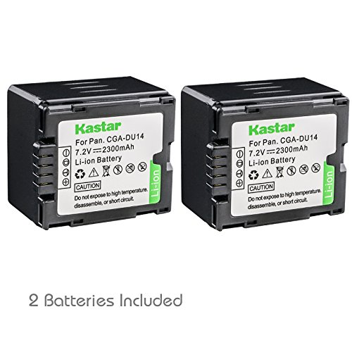 Kastar CGA-DU14 Battery (2-Pack) replace Panasonic CGA-DU06, CGA-DU07, CGA-DU14, CGA-DU21, VW-VBD070 VBD140 VBD210 work with Panasonic NV-GS330, GS400, GS408, GS500, GS508, MX500, PV-GS90, GS120, GS150, GS180, GS320, GS400, GS500, SDR-H48, H68, H200, H250, H280, VDR-D160, D258, D300, D308, D310, D400, M53, M54, M55, M70, M74, M75, M95, M250 and Hitachi DZ-BP21SJ, DZ-BP14S, DZ-BP7S, DZ-BP14SW Cga Du14 Lithium Ion Battery