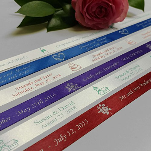 Personalized Wedding Ribbon - Customized With Your Text For Favors & Gifts (5 Yards)