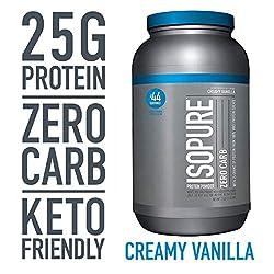 Isopure Zero Carb, Keto Friendly Protein Powder, 100% Whey Protein Isolate, Flavor: Creamy Vanilla,