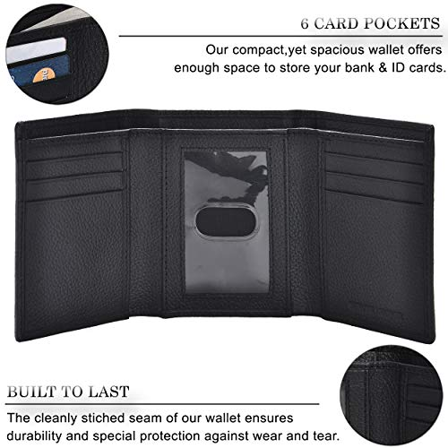 Trifold Wallets for Men - Real Leather RFID Protected Front Pocket Travel Wallet Arkansas