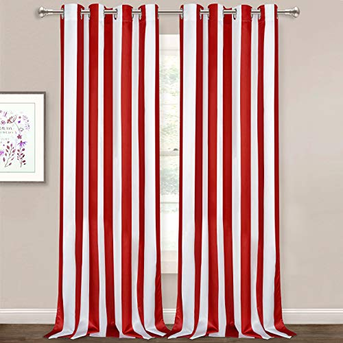 Striped Window Curtains, Red and White Vertical Stripe Curtain Panel, Window Drapes with Grommets for Bedroom Living Room Decor, Set of 2 Panels, 52 x 84 Inch Length