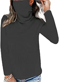 Comaba Womens Blouse Solid Colored Cowl Neck Long Sleeve Casual Tees Top