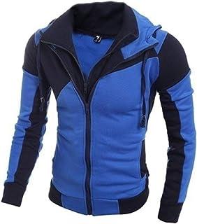 FSSE Men's Casual Sport Color Block Hoodie Zip Up Sweatshirt Jacket Coat Outwear
