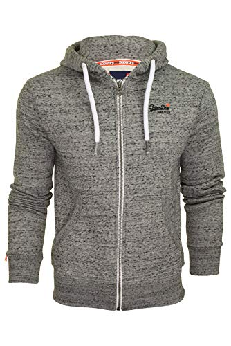 Superdry Herren ORANGE Label Ziphood Kapuzenpullover, Grau (Flint Grey Grit XJE), X-Large