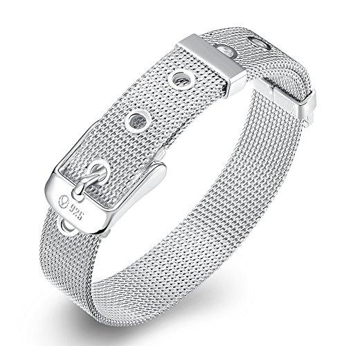 NYKKOLA, braccialetto unisex alla moda, placcato argento sterling 925, con cinturino a maglie intrecciate