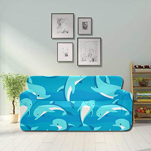 AQQA Cartoon Cute Water Creature Dolphin Durable Couch Cover Living Room Couch Covers Fitted Furniture Protector 2&3 Seat Sofas