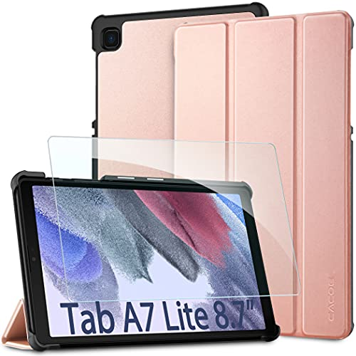 CACOE Funda Compatible con Samsung Galaxy Tab A7 Lite 8,7 Pulgadas 2021 Tableta SM-T225/SM-T220 con Cristal blindado, Ultra Slim PU Protectora Carcasa con Función de Soporte, Rosa
